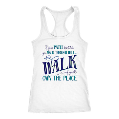 Walk Through Hell Blue Design • Women's Tank Top T-shirt teelaunch White XS