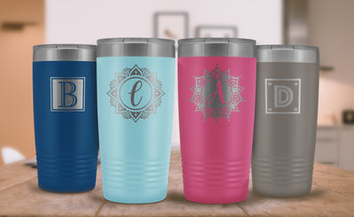 "Monogram ""B"" Insulated Travel Tumbler • Square Design"