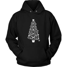 Butterfly Hoodie Cottagecore Folk Art Christmas Tree with Butterflies T-shirt teelaunch Unisex Hoodie Black S