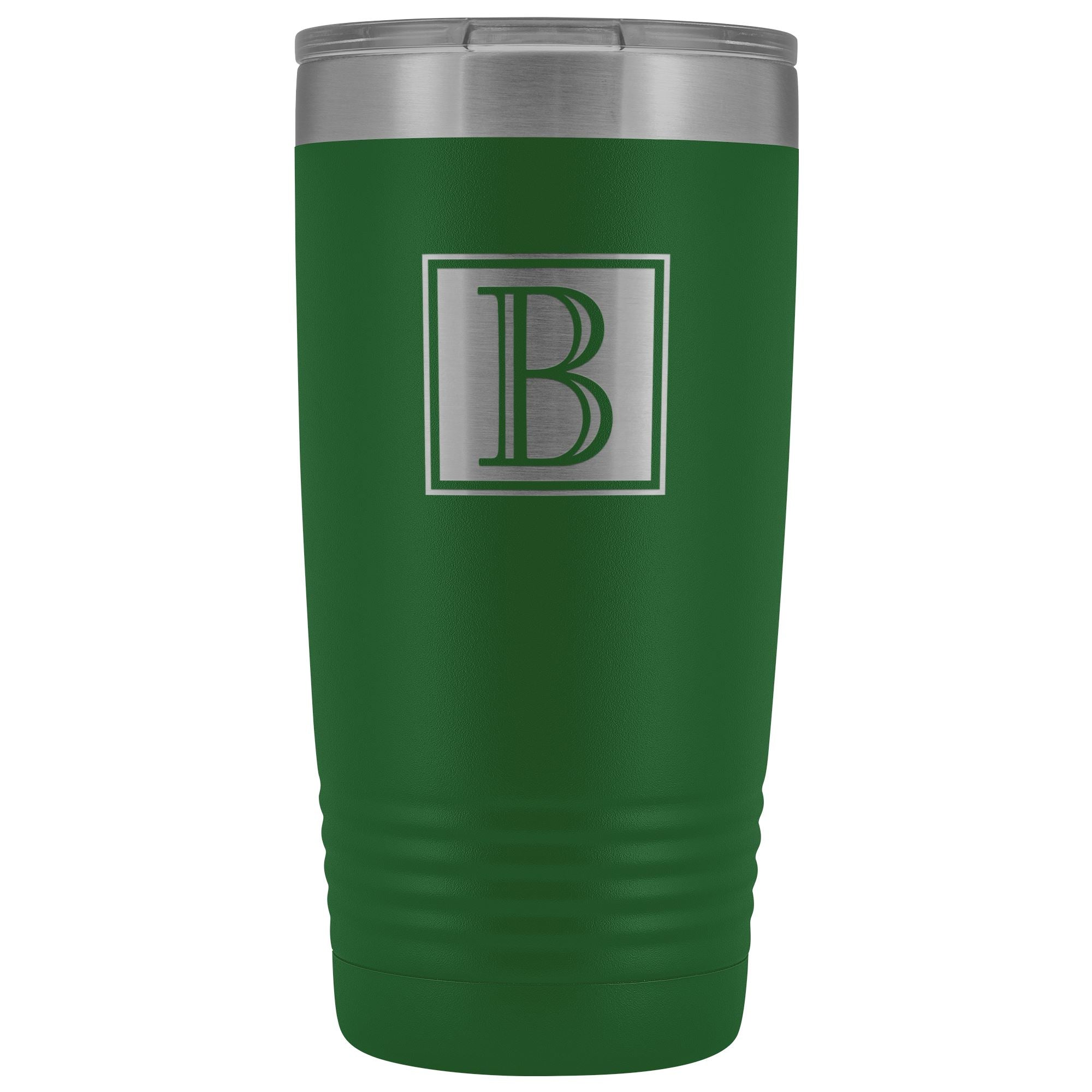 "Monogram ""B"" Insulated Travel Tumbler • Square Design Tumblers teelaunch Green"
