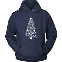 Butterfly Hoodie Cottagecore Folk Art Christmas Tree with Butterflies T-shirt teelaunch Unisex Hoodie Navy S