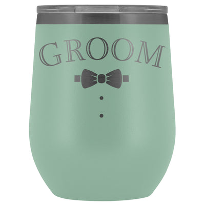 For The Groom • Engraved 12oz. Wine Tumbler Wine Tumbler teelaunch Teal