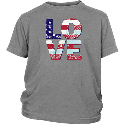 Patriotic Love • Youth T-shirts T-shirt teelaunch Sport Grey XS