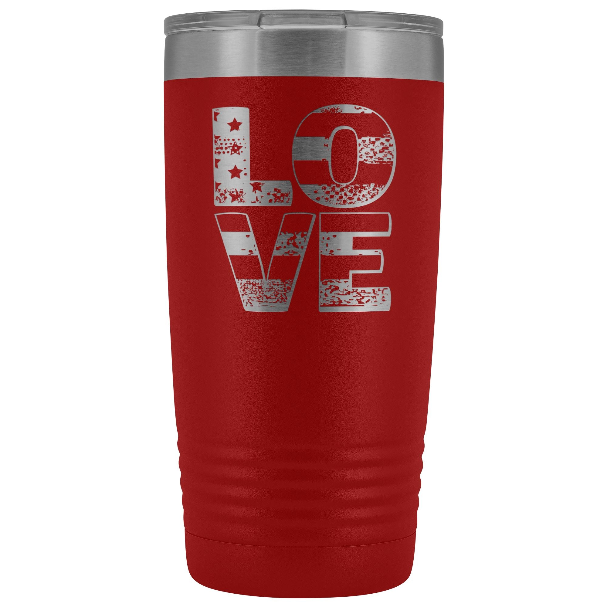 Patriotic Love • 20oz. Insulated Travel Coffee Mug Tumblers teelaunch Red