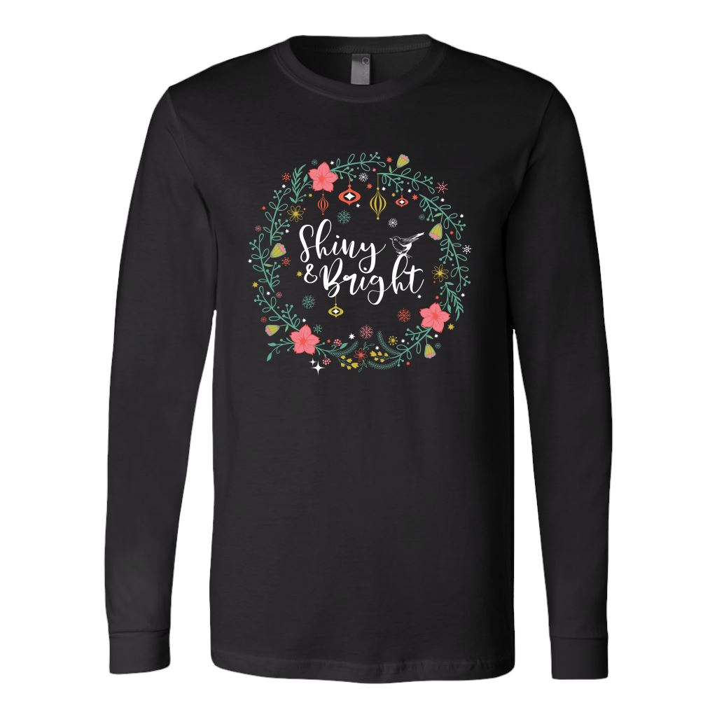 Folklore Shiny and Bright Holiday Cheer Christmas Tees & Sweatshirts • Cottagecore Aesthetic T-shirt teelaunch Long Sleeve Tee Black S
