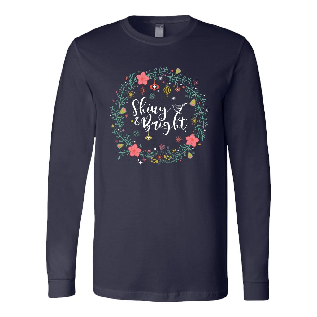 Folklore Shiny and Bright Holiday Cheer Christmas Tees & Sweatshirts • Cottagecore Aesthetic T-shirt teelaunch Long Sleeve Tee Navy S