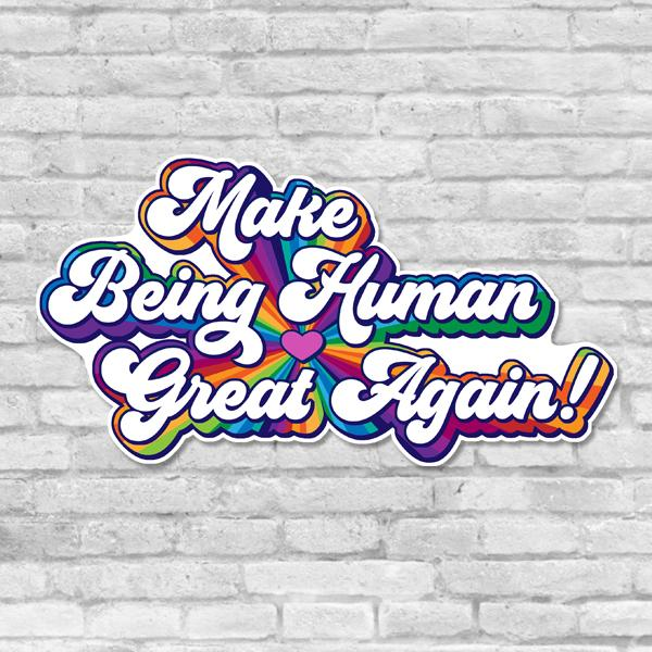 Make Being Human Great Again Sticker Salmon Olive