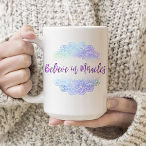 Believe In Miracles Mandala Print 15oz. Large Coffee Mug