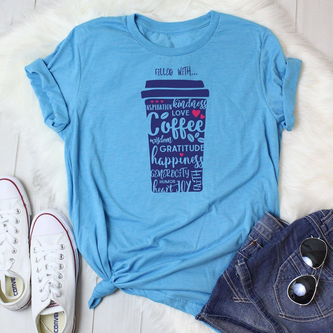 Filled with Coffee & Kindness • Women's Tees & Tank Tops T-shirt teelaunch DriFit Tee Vintage Turquoise S
