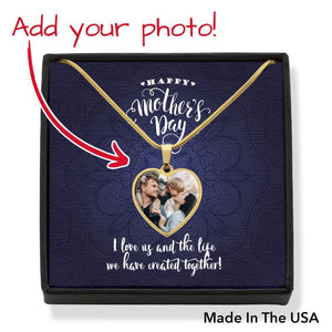 Customizable Photo Pendant • Mother's Day Message Card Jewelry ShineOn Fulfillment Gold No