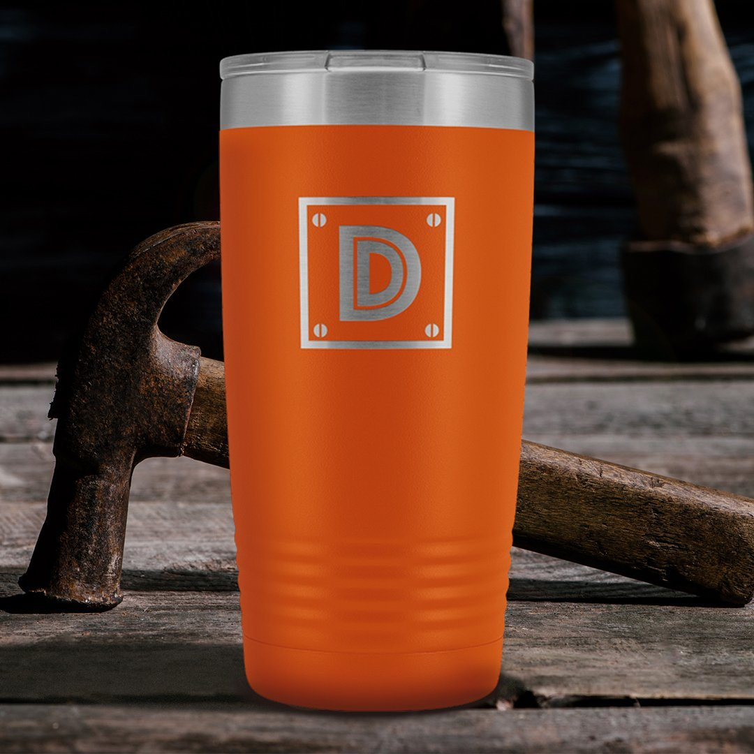 "Monogram ""D"" Insulated Travel Tumbler • Rivet Design Tumblers teelaunch Orange"