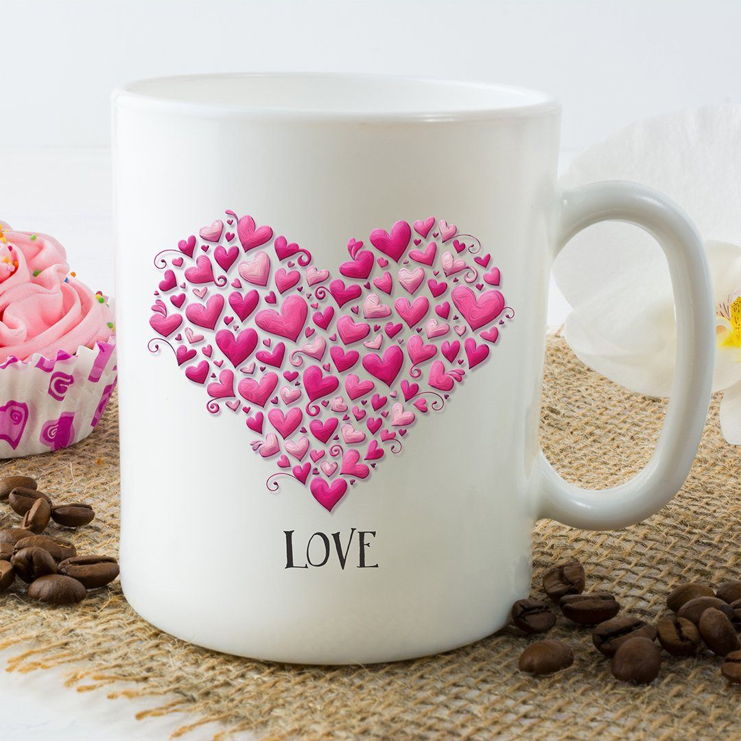 Hearts with Love Ceramic Coffee Mug, Coffee Lovers, Love, Inspirational, Spiritual, Motivational Gift, Gift for Mom, Mother's Day