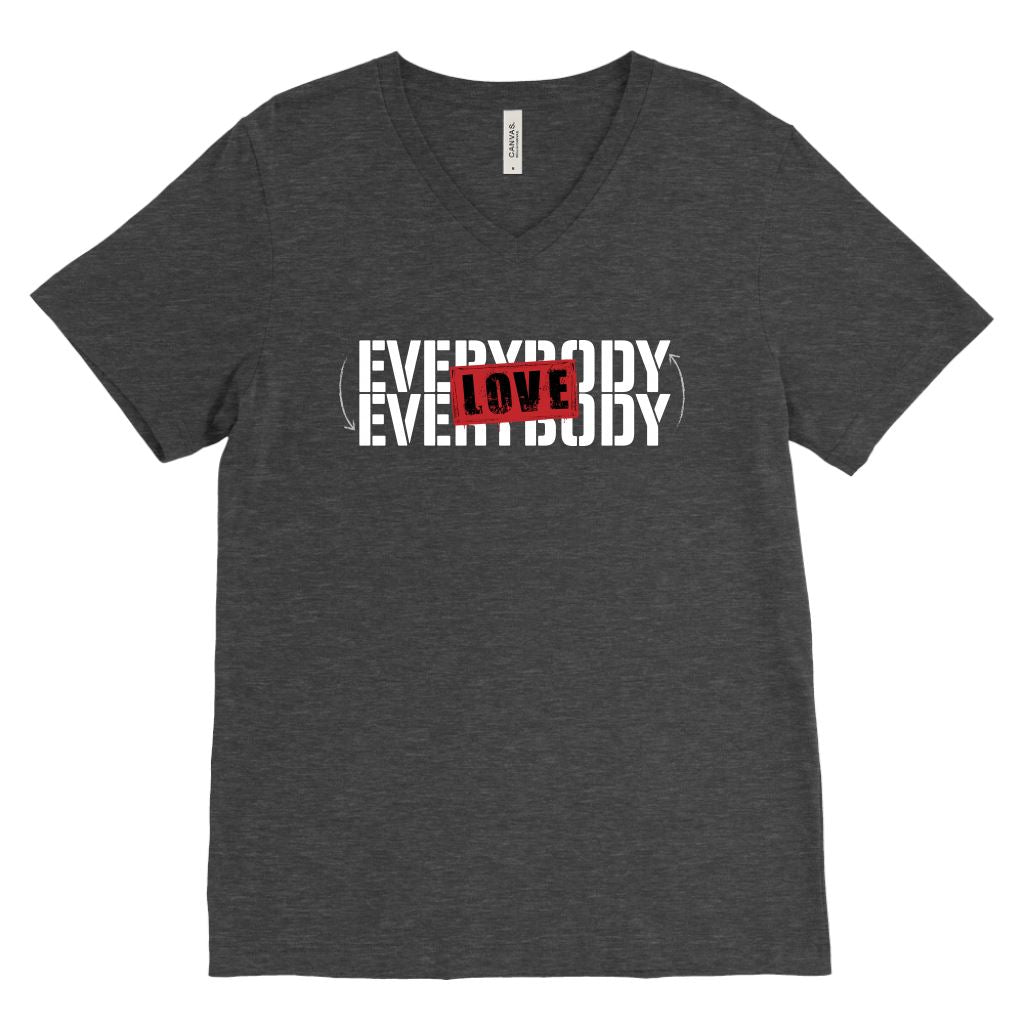 Everybody Love Everybody • Unisex Tees & Tanks T-shirt teelaunch Canvas Mens V-Neck Charcoal Heather S