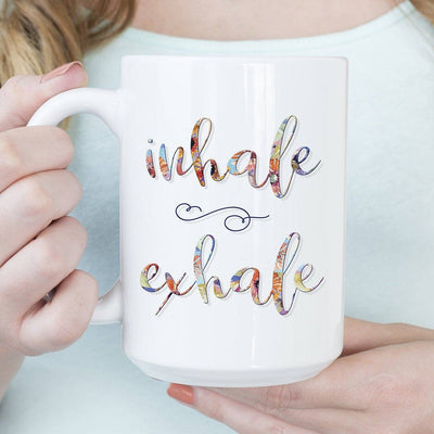 INHALE EXHALE Colorful Floral • 15oz. Large Coffee Mug