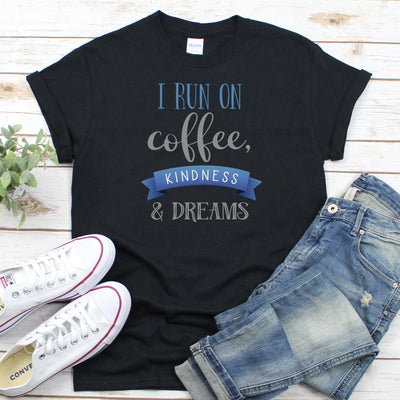 I Run On Coffee Kindness & Dreams • Women's DriFit Athletic Tee T-shirt teelaunch Vintage Black S