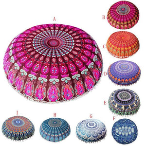 Round Meditation Cushion • Indian Mandala Pillows Round Bohemian Floor Cushion Textiles & Pillows Black Lily