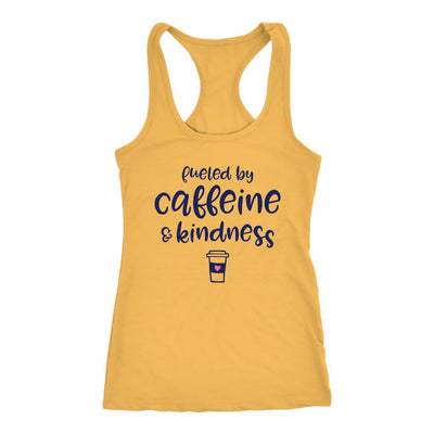 Fueled By Caffeine & Kindness • Women's Racerback Tank Tops T-shirt teelaunch Banana Cream XS