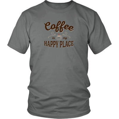 Coffee Is My Happy Place • Women's Tees T-shirt teelaunch Unisex Tee Grey S