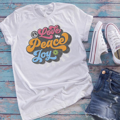 Love, Peace, Joy • Women's Tees & Tank Tops T-shirt teelaunch Cotton Tee White S