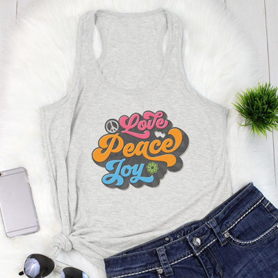Love, Peace, Joy • Women's Tees & Tank Tops T-shirt teelaunch Racerback Tank Heather Grey S