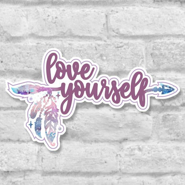 Love Yourself • Self Care Reminder Inspirationals Vinyl Sticker Salmon Olive