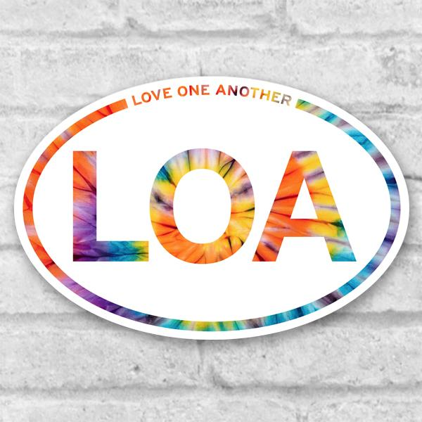 Love One Another Vinyl Sticker Salmon Olive 3x3