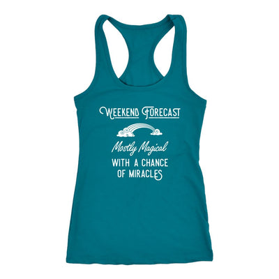 Weeekend Forecast: Mostly Magical with a Chance of Miracles • Women's Racer Back Tank Top T-shirt teelaunch Dark Teal XS