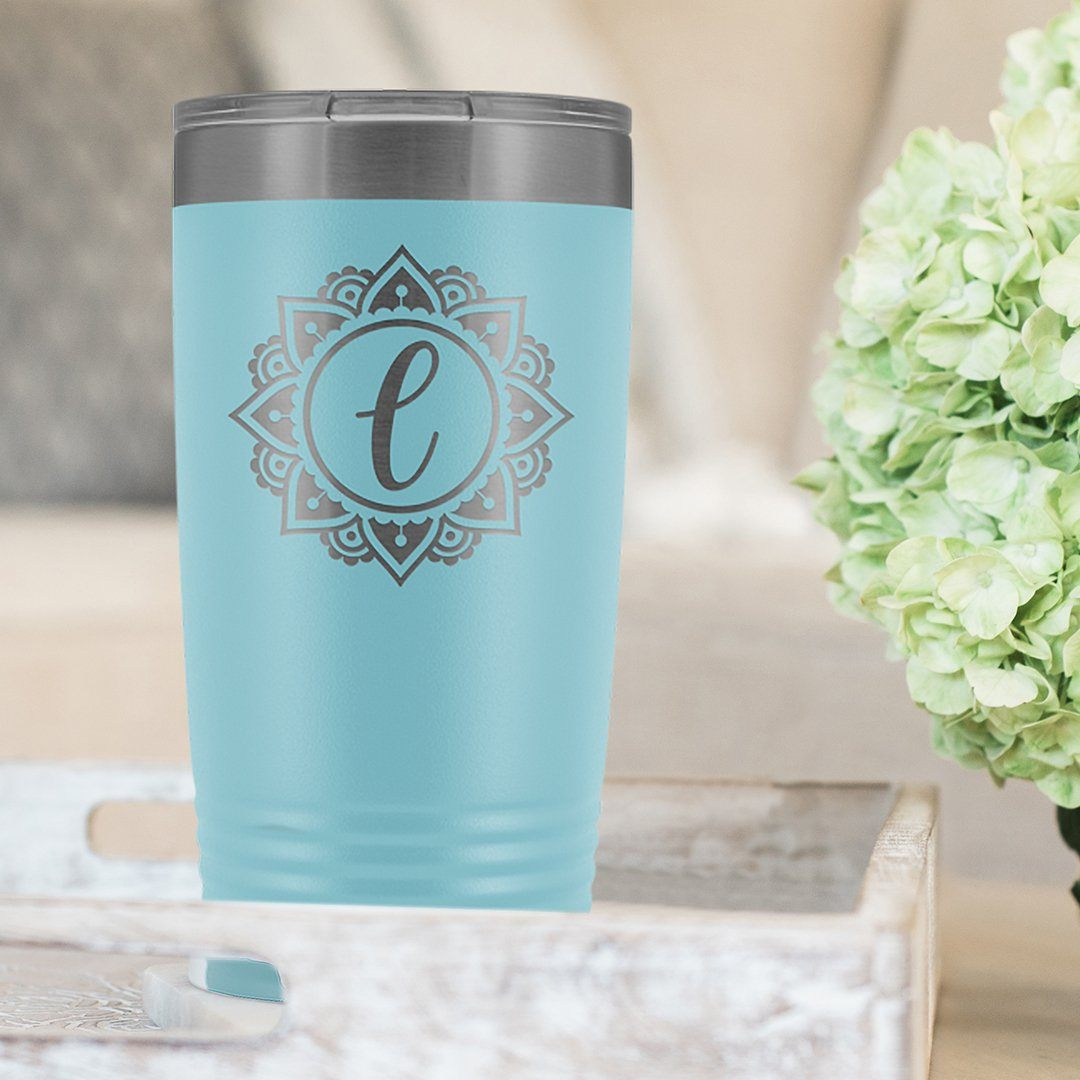 Personalized Monogram Initial Yeti Style Coffee Mug • Sunburst Mandala Design Tumblers Salmon Olive Light Blue