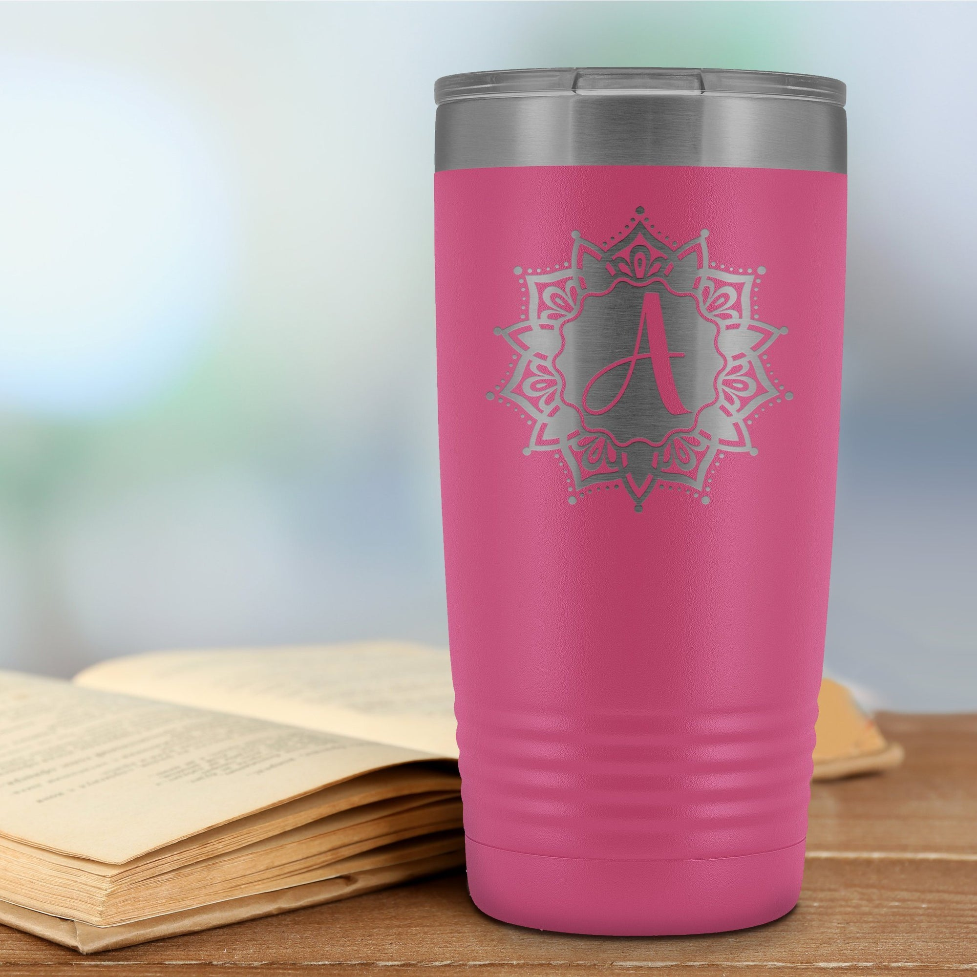 "Monogram ""A"" Insulated Travel Tumbler • Solid Mandala Design Tumblers teelaunch Pink"