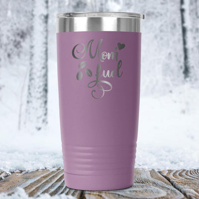 Mom Fuel • 20oz. Insulated Coffee Tumbler Tumblers teelaunch Light Purple