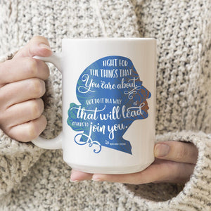 Fight for the Things You Care About Ruth Bader Ginsburg Ceramic Coffee Mug Blue Silhouette 11oz. or 15oz.