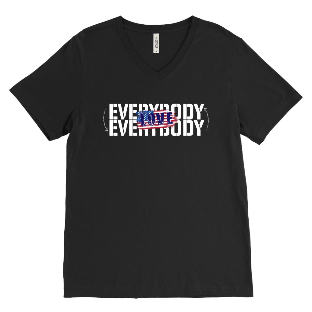 Everybody Love Everybody Patriotic • Unisex Tees & Tanks T-shirt teelaunch V-Neck Black S