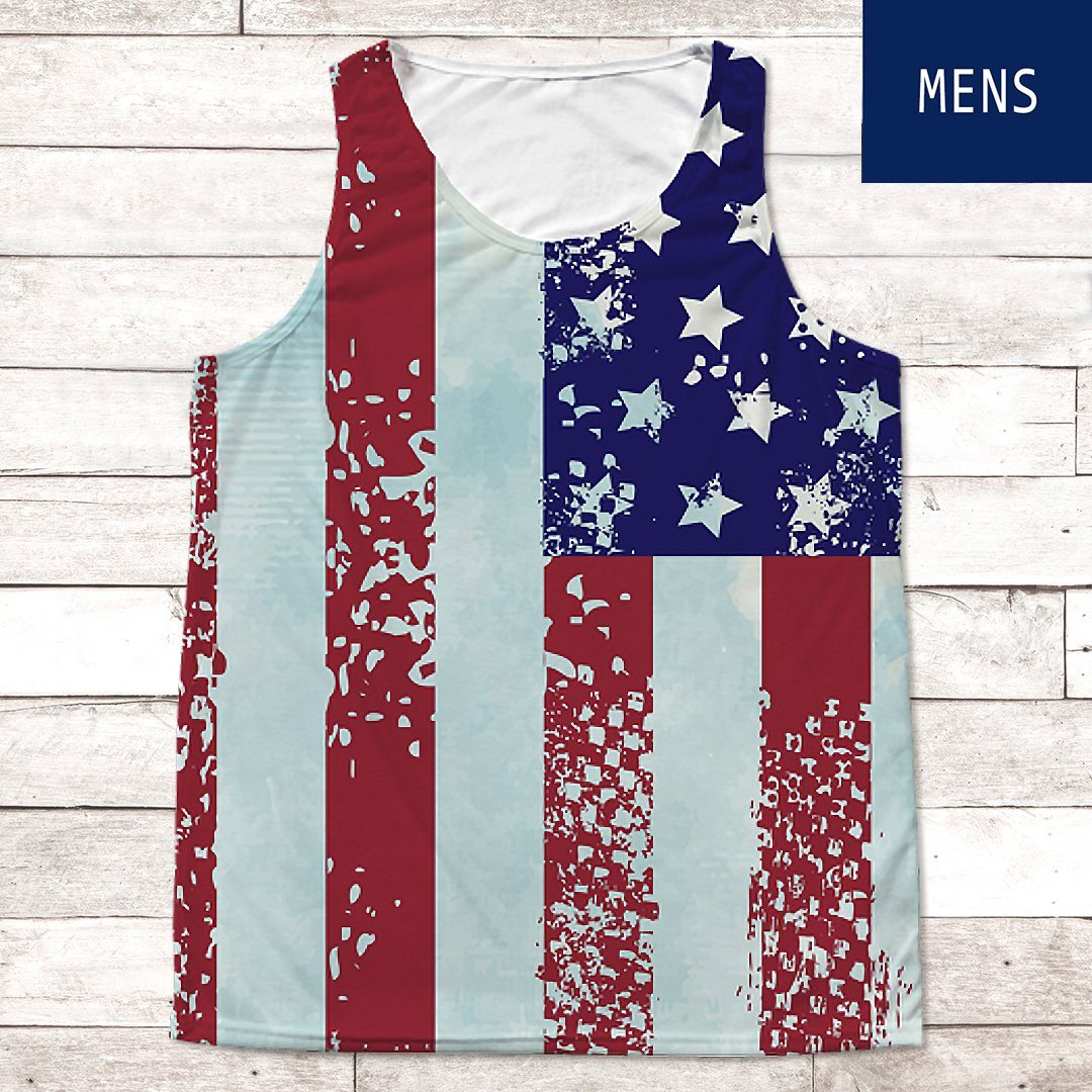 Stars & Stripes Tank Top • Men's Tank Top All Over Print teelaunch American Flag S