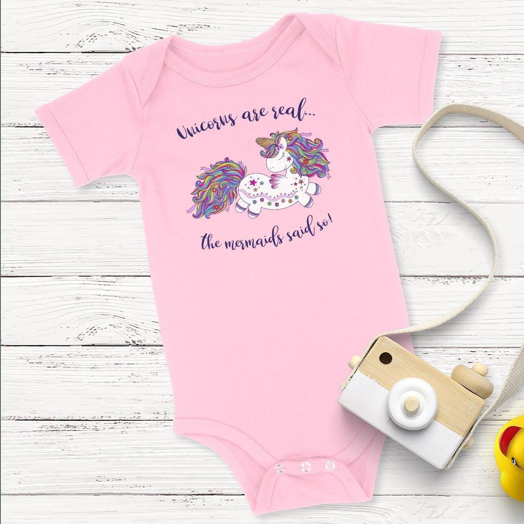 Unicorns Are Real • Baby & Kids Tees T-shirt teelaunch Onsie Pink NB