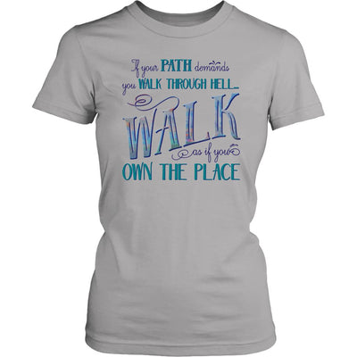 Walk Through Hell Colorful Design • Women's Cotton Tee T-shirt teelaunch Silver XS