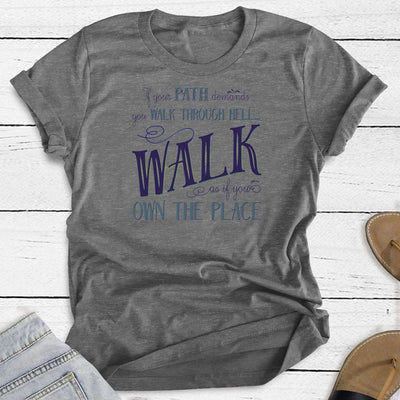 Walk Through Hell Blue Design • Women's TriBlend Althetic Tee T-shirt teelaunch Heather Grey S
