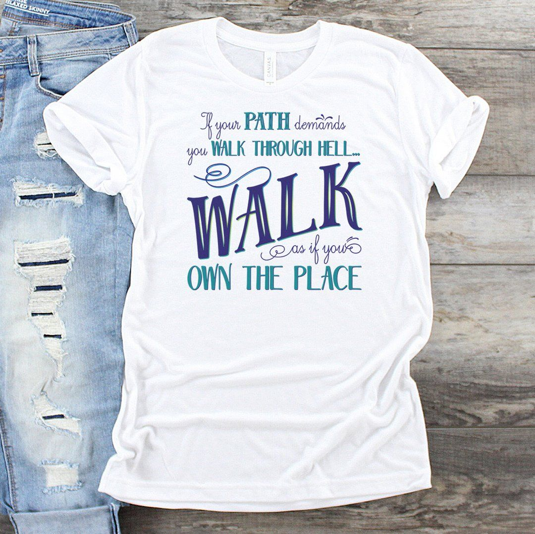 Walk Through Hell Blue Design • Women's Cotton Tee T-shirt teelaunch White XS