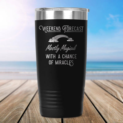 Weekend Forecast: Mostly Magical with a Chance of Miracles Travel Coffee Mug, Insulated Mug, To go Mug Tumblers teelaunch Black