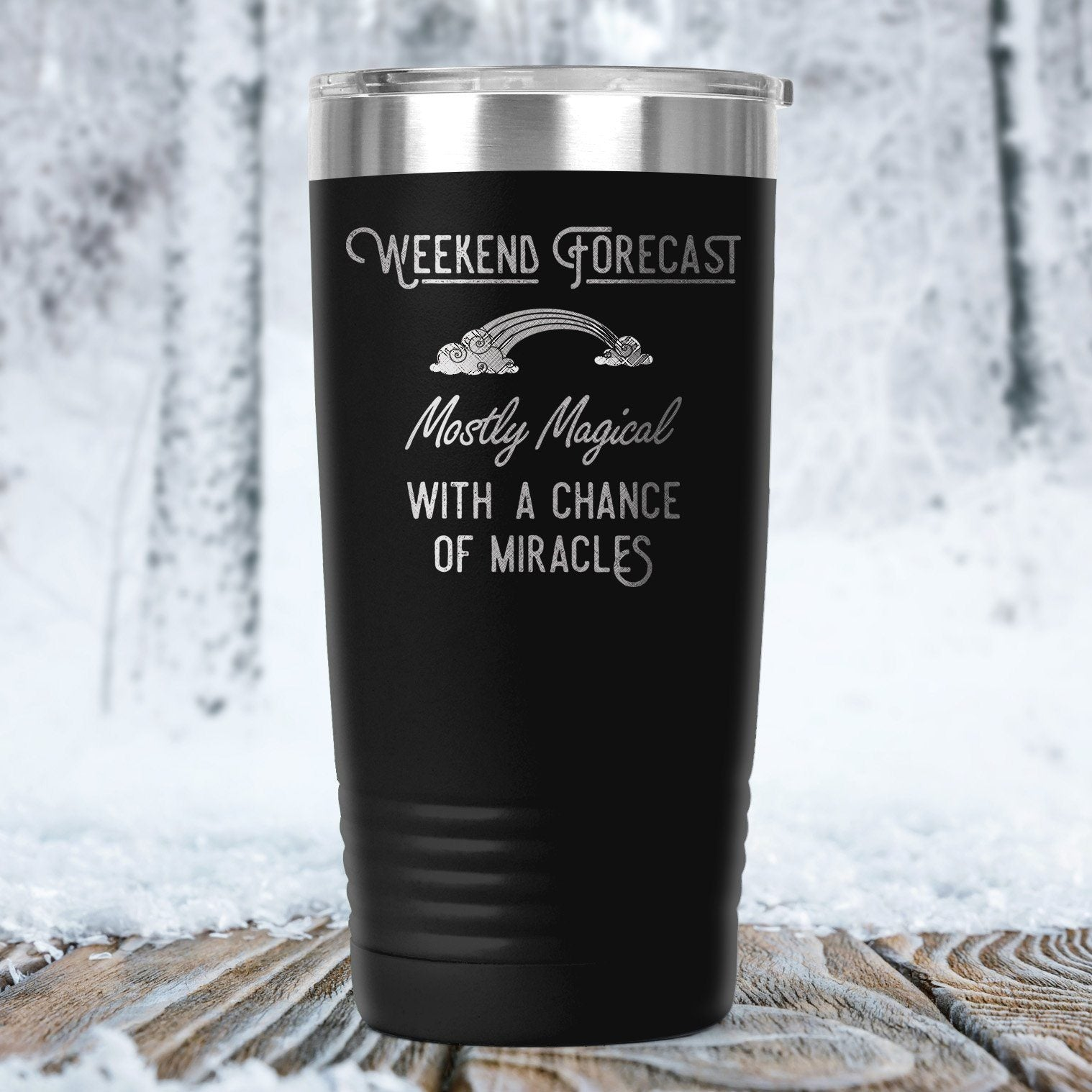 Weekend Forecast: Mostly Magical with a Chance of Miracles Travel Coffee Mug, Insulated Mug, To go Mug Tumblers teelaunch