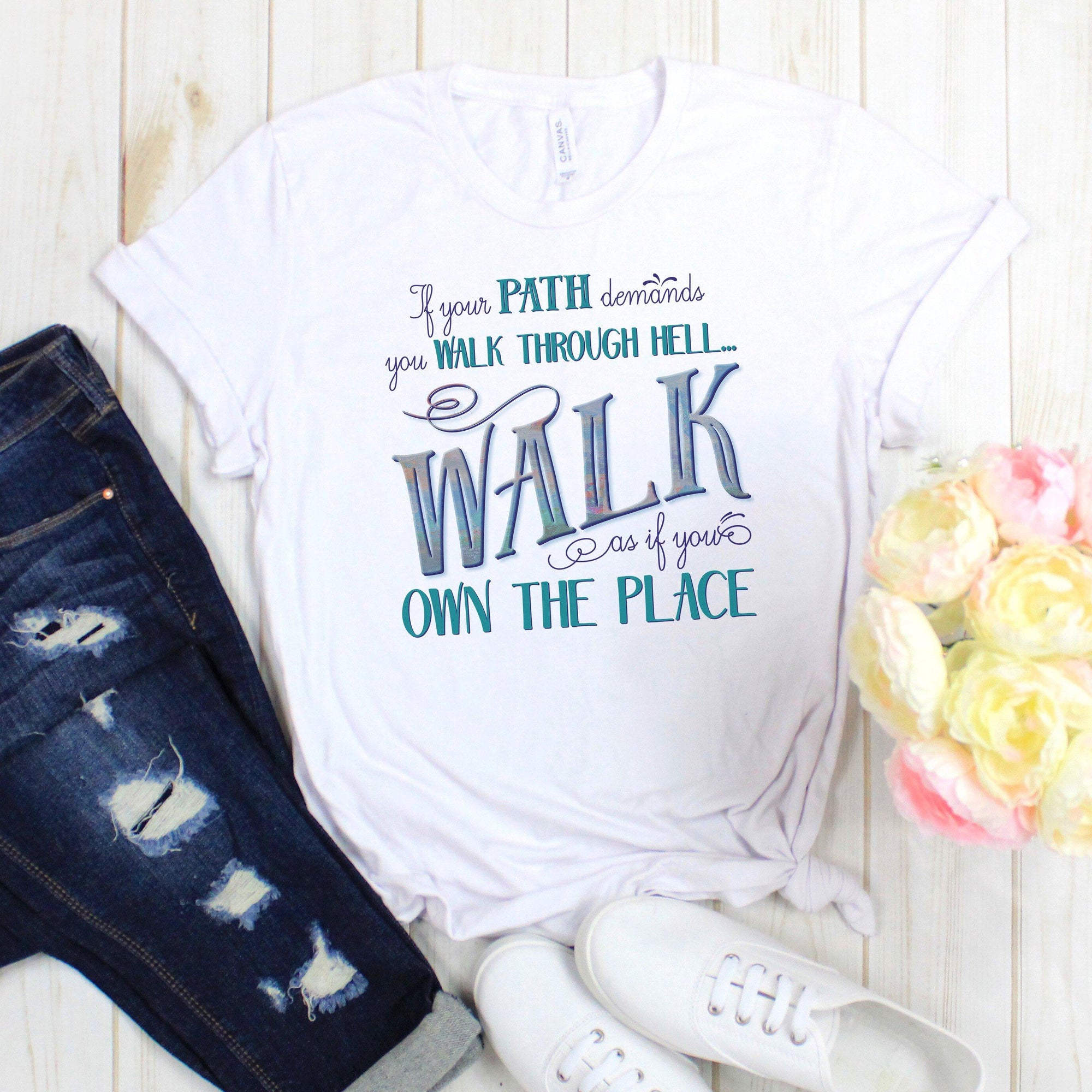 Walk Through Hell Colorful Design • Women's Cotton Tee T-shirt teelaunch White XS