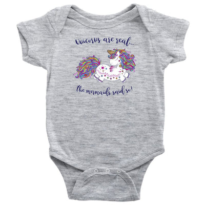 Unicorns Are Real • Baby & Kids Tees T-shirt teelaunch Onsie Heather Grey NB
