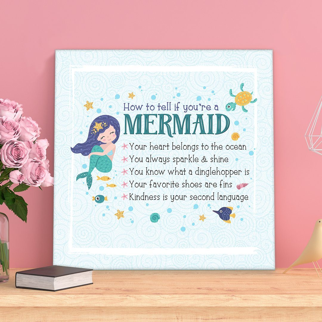 How To Tell If You're a Mermaid, canvas wall art, wall art, mermaid, disney princess, little mermaid