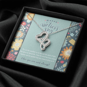 Mother and Child Double Hearts Necklace • To My Wife Message Card Jewelry ShineOn Fulfillment