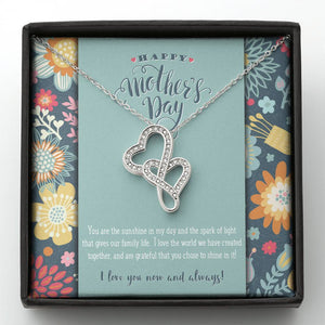 Mother and Child Double Hearts Necklace • To My Wife Message Card Jewelry ShineOn Fulfillment Standard Box