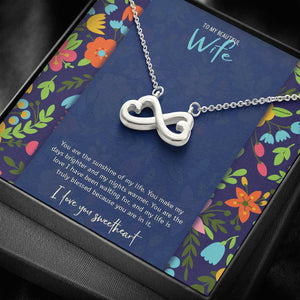 Infinity Hearts Necklace • Custom Message Card To My Wife Jewelry ShineOn Fulfillment Silver