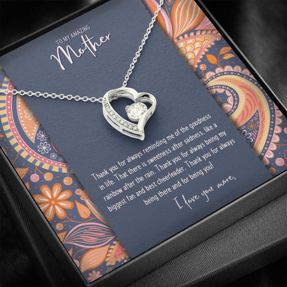 CZ Heart Pendant • Custom Message Card To My Mother Jewelry ShineOn Fulfillment 14k White Gold Finish