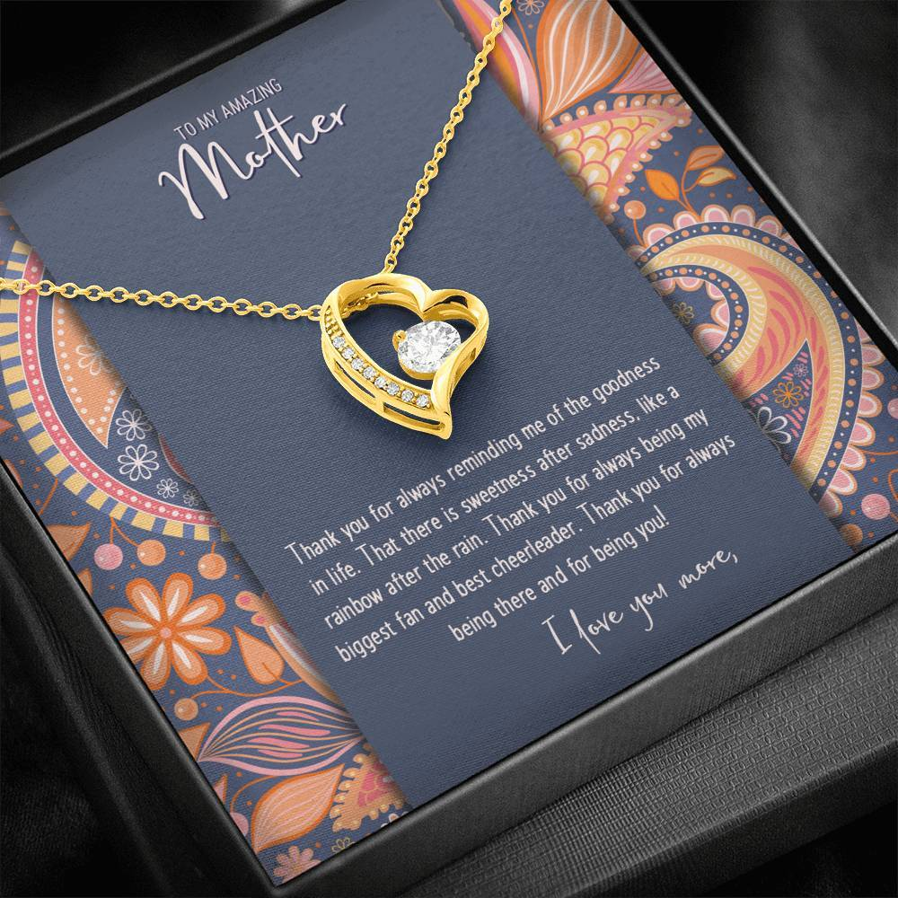 CZ Heart Pendant • Custom Message Card To My Mother Jewelry ShineOn Fulfillment 18k Yellow Gold Finish