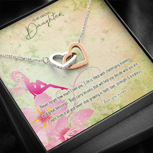 Double Heart Pendant • Custom Message Card To Daughter, Love Jewelry ShineOn Fulfillment Standard Box
