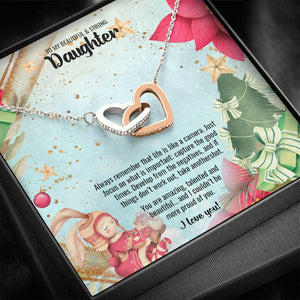 Interlocking Hearts Necklace • Christmas Message To My Daughter Jewelry ShineOn Fulfillment Standard Box