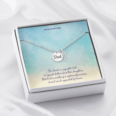 Dad Memorial Jewelry • Angle Wing Necklace Forever In My Heart Jewelry ShineOn Fulfillment Dad - Polished Stainless Steel